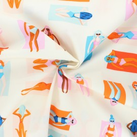 Tissu popeline de coton AGF Sunburst - Fun in the sun - bleu x 10cm