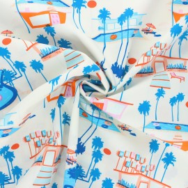 AGF poplin cotton fabric - Sunburst - blue Hello summer x 10cm