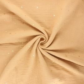 Tissu double gaze de coton Cosmicolo doré - camel x 10cm