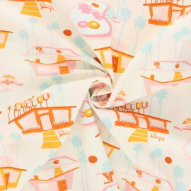 Tissu popeline de coton AGF Sunburst - Hello summer - rose x 10cm