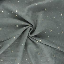 Double gauze cotton fabric - khaki green/gold Cosmicolo x 10cm