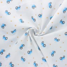 Tissu popeline de coton Stenzo Tractor - blanc x 10cm