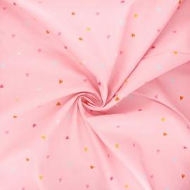 Tissu popeline de coton Poppy Hearts - rose x 10cm