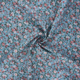 Poppy poplin cotton fabric - swell blue Romantic flowers A x 10cm