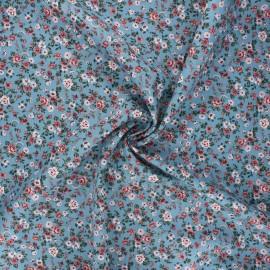 Tissu popeline de coton Poppy Romantic flowers A - bleu houle x 10cm