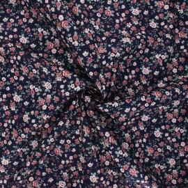 Poppy poplin cotton fabric - navy blue Romantic flowers A x 10cm