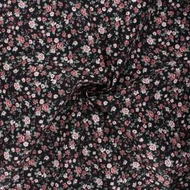 Poppy poplin cotton fabric - black Romantic flowers A x 10cm