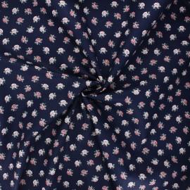 Poppy poplin cotton fabric - navy blue Romantic flowers B x 10cm