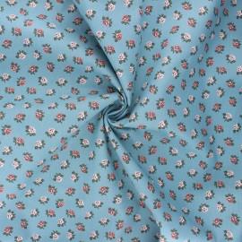 Poppy poplin cotton fabric - swell blue Romantic flowers B x 10cm