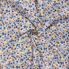 Tissu popeline de coton Florido - bleu x 10cm