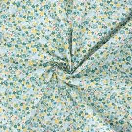 Poplin cotton fabric - green Florido x 10cm