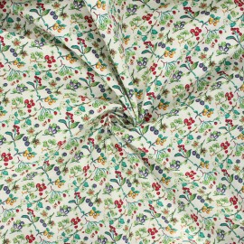 Poplin cotton fabric - green Summer berries x 10cm