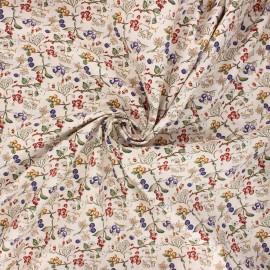 Tissu popeline de coton Summer berries - grège x 10cm