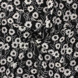 Poplin cotton fabric - black Margarida x 10cm
