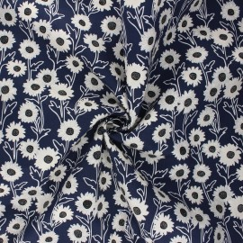 Poplin cotton fabric - navy blue Margarida x 10cm