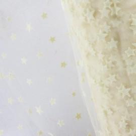 ♥ Coupon 60 cm X 150 cm ♥ Tulle souple floqué étoile écru sur écru