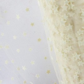 Tulle souple floqué étoile écru sur blanc au mètre