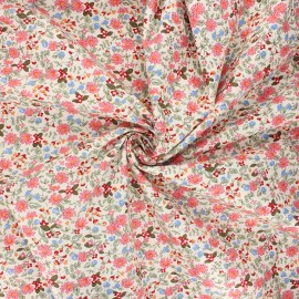 Poplin cotton fabric - pink Primavera flowers x 10cm