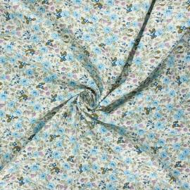 Poplin cotton fabric - blue Primavera flowers x 10cm