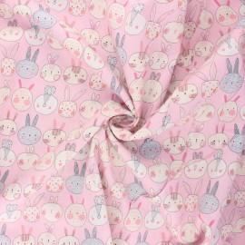 Tissu popeline de coton Lapinou - rose x 10cm