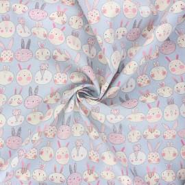 Tissu popeline de coton Lapinou - gris x 10cm