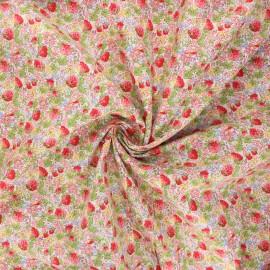 Tissu popeline de coton Champ de fraises - rose x 10cm