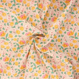 Poplin cotton fabric - orange Manihi x 10cm