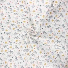 Poplin cotton fabric - white Baby guépard x 10cm