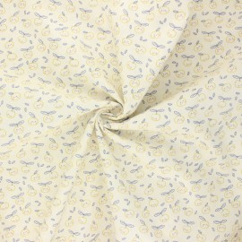 Tissu popeline de coton Cuty peachy - ivoire x 10cm