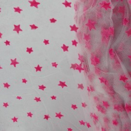 Flexible Flocked Tulle Stars - Barbapapa / White x 10cm