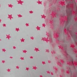 Tulle souple floqué étoile barbapapa sur blanc x10cm