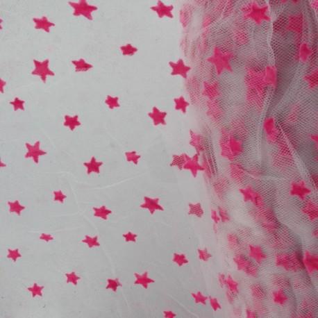 Tulle souple floqué étoile barbapapa sur blanc au mètre