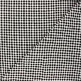 Gingham seersucker fabric - black Amalfi x 10cm