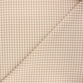 Gingham seersucker fabric - sand Amalfi x 10cm