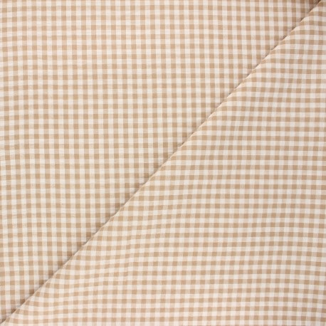 Tissu seersucker vichy Amalfi - sable x 10cm