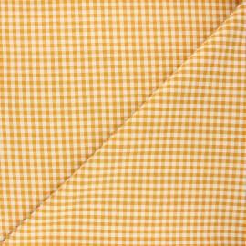 Tissu seersucker vichy Amalfi - jaune moutarde x 10cm