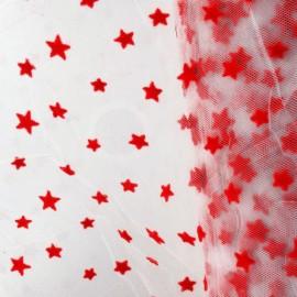 Tulle souple floqué étoile rouge sur blanc au mètre