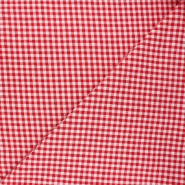 Gingham seersucker fabric - red Amalfi x 10cm