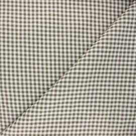 Gingham seersucker fabric - khaki green Amalfi x 10cm