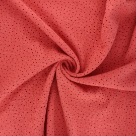 Dotted washed flamed cotton voile fabric - marsala x10cm