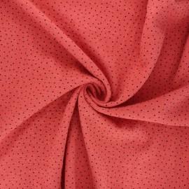 Tissu voile de coton lavé flammé à pois by Penelope - marsala x 10cm