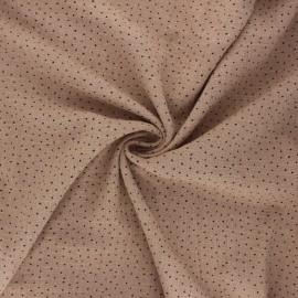 Dotted cotton slub fabric - taupe x10cm
