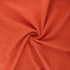 Tissu voile de coton lavé flammé à pois by Penelope - rouille x 10cm
