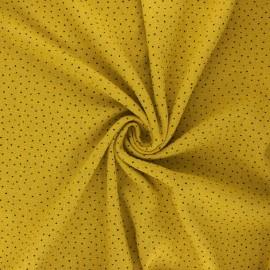 Dotted cotton slub fabric - curry x10cm