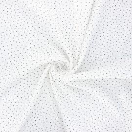 Dotted cotton slub fabric - white x10cm