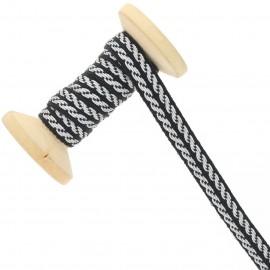 10 mm officer metallic ribbon roll - silver / black