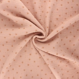 Double gauze cotton fabric - rosewater Stars x 10cm