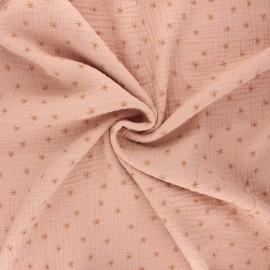 Tissu double gaze de coton Stars - eau de rose x 10cm
