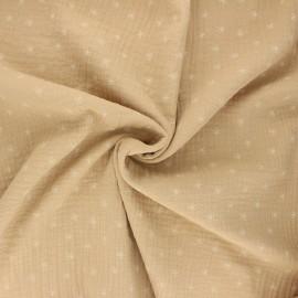 Double gauze cotton fabric - sand Stars x 10cm