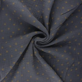 Double gauze cotton fabric - slate grey Stars x 10cm